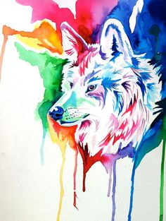 Rainbow Wolf Commission 2 by Lucky978.deviantart.com