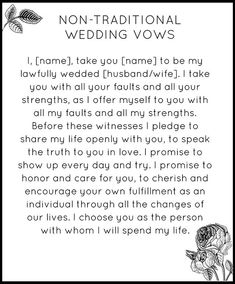 Non Traditional Wedding Ceremony Readings modern non traditional wedding vows snippet Wedding Goals, Plan Your Wedding, Wedding Tips, Fall Wedding, Wedding Events, Dream Wedding, Wedding Stuff, Modern Wedding Vows, Wedding Planning Quotes