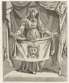 Luca Bertelli   Veronica met zweetdoek, Luca Bertelli, c. 1540 - c. 1550   Onder een baldakijn houdt Veronica haar sudarium met het gezicht van Christus op.