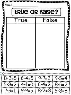 First Grade Math Unit or false with addition equations cut and paste- maybe this should be made to examples and non examples for intermediate? Second Grade Math, First Grade Classroom, Math Classroom, Grade 1, First Grade Math Worksheets, Third Grade, Math Strategies, Math Resources, Math Activities