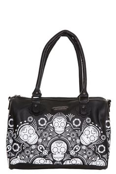 Loungefly - Black Day of the Dead Skull Handbag
