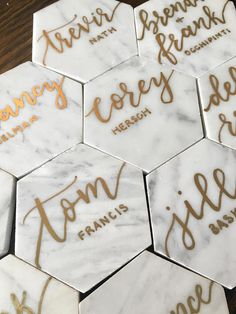 Customized place cards or escort cards for your wedding or event! Prices range from $1.25 - $4+ per card depending on a number of factors including: ink color, material, number of names per card, turn around time, etc. Price for ink color/materials is as follows: - Place cards: