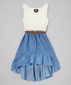 Dollhouse White & Blue Hi-Low Dress - Infant & Toddler | zulily