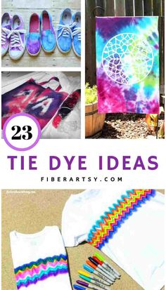 23 Tie Dye Ideas and Projects. Fun and Colorful Tie Dye Project Ideas from Tie Dyeing Shoes to Curtains and Shibori Dyeing Fabric. Make A Tie, How To Tie Dye, How To Dye Fabric, Dyeing Fabric, Dyeing Yarn, Craft Projects For Kids, Crafts For Teens, Fun Crafts, Project Ideas