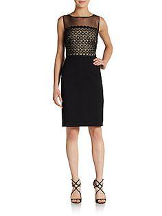 Lace-Paneled Illusion-Top Sheath Dress