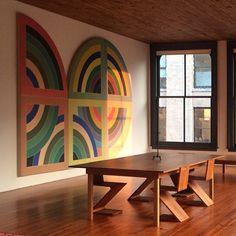 Frank Stella art in modern dining room  ATELIER DIA  DIAISM TJANN TJANTEK ART SPACE ACQUiRE UNDERSTANDiNG