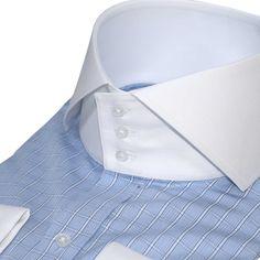 S Mens High Collar Shirts, Plain White Shirt, Cotton Shirts For Men, Blue Check, White Collar, Collar Styles, Blue Stripes, Types Of Sleeves, Long Sleeve Shirts