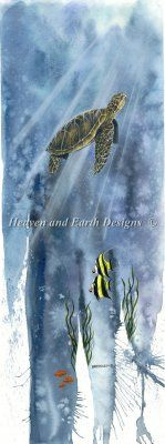 Sea Turtle: Heaven And Earth Designs, cross stitch Cross Stitch Embroidery, Cross Stitch Patterns, Turtle Crafts, Earth Design, Time In The World, Heaven On Earth, Animal Kingdom, Seaside, Stitch 2
