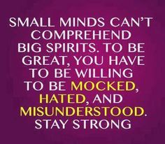 Small minds are a waste & never fully understand what life is really about.