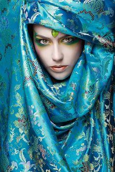 Turquoise silk