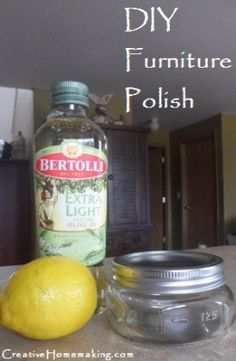 Homemade furniture polish. I'm going to use lemon juice and use it on our outdoor wood benches. The lemon juice will keep spiders away!!