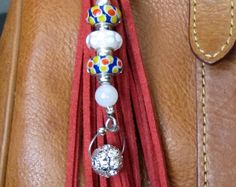 Purse Charm, Tassel, Zipper Pull, Key Chain - Chunky Red Suede, Silver Crystal Bling, Lampwork Glass, Boho