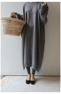 Sweater Dress Outfit, Casual Dress Outfits, Mini Shirt Dress, Mode Outfits, Knit Dress, Mein Style, Striped Maxi Dresses, Dresses Dresses, Dresses With Leggings