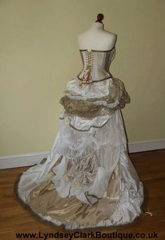 Steampunk Victorian wedding dress / prom with corset, bustle & train MADE TO ORDER/ Measure by LyndseyBoutique on Etsy https://www.etsy.com/listing/159816456/steampunk-victorian-wedding-dress-prom