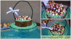Poke Cake de genovés de chocolate relleno de pudding de dulce de leche