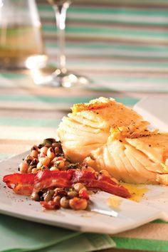 Bacalhau com  feijão-fradinho e bacon