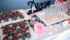 - Chocolate covered strawberries and cake pops for wedding sweet table