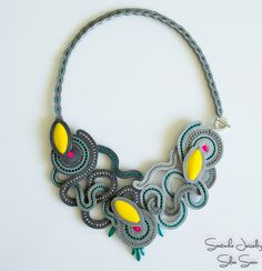 Soutache statement necklace with Preciosa beads