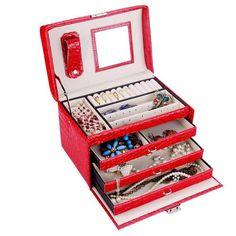 【Rowling】Red Faux Leather Jewelry/Watch Box Case Jewellery Storage Case ZG016