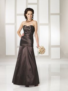 Taffeta Strapless Sweetheart Neckline Pleated Bodice Ankle-length Wedding Party Dress