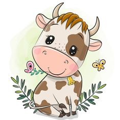 Cartoon Cartoon, Cute Cartoon Animals, Baby Animal Drawings, Cute Drawings, Cartoon Drawings, Cow Illustration, Cow Drawing, Cartoon Butterfly, Cartoon Elephant