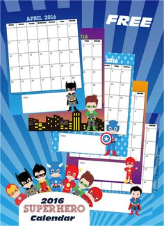 FREE Super Hero 2016 Calendar - This is such a cute free printable calendar for toddler, preschool, kindergarten, 1st grade, and 2nd grade kids. Perfect for homeschool