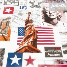 jubelis® Wachstuch Tischdecke Design Marilyn Monroe, amerikanische Flagge stars and stripes und Freiheitsstatue