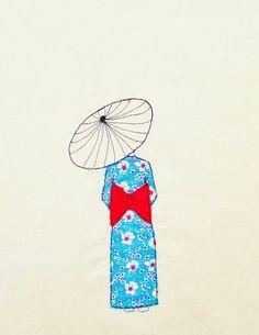Original Embroidery 'Girl in Kimono' by Sarah Walton