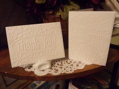 THANK YOU CARDs SET of 4 - Richly Embossed Ready for Your Embellishments ! - Do It Yourself- Mix & Match ! by BarbsHandiworks on Etsy