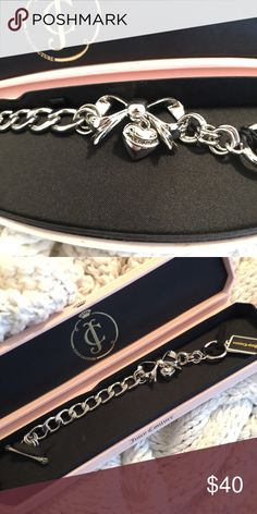 Juicy Couture Bracelet BNWT cute silver link bracelet with bow with dangling heart Charm. Juicy Couture Jewelry Bracelets