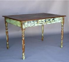 19th c. painted cedro desk with drawer.