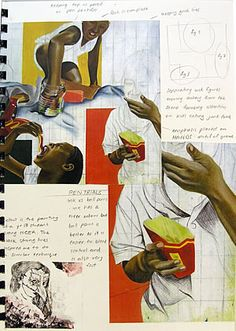 Another sketchbook page by Nikau Hindin, showing compositional studies – plans and evaluation of her own A2 paintings.