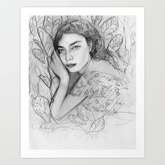 """Stefania the Plant Whisperer by Karina Love  Gallery quality Giclée print on natural white, matte, ultra smooth, 100% cotton rag, acid and lignin free archival paper using Epson K3 archival inks. Custom trimmed with 1"""" border for framing."""
