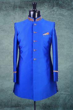 Royal #blue falling fabric Indo-Western #sherwani -IW144