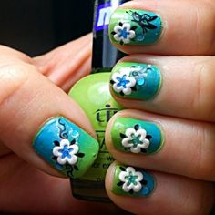 Blue and Green Floral Nails - Cult Cosmetics Magazine