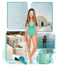 """Santorini ● Greece"" by annynavarro ❤ liked on Polyvore featuring Haze, St. Tropez, Origins, Poppie Jones, Norma Kamali, L*Space and Victoria Beckham"