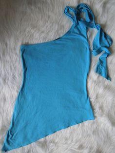 #WetSeal #Asymmetrical #OneShoulder #Top #Turqouise #ShoulderTie #Bodycon   Women Sz S/M