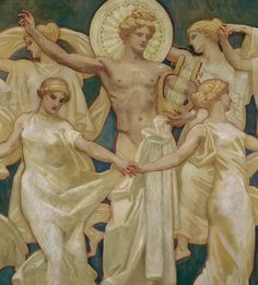 Apollon et les Muses (De John Singer Sargent) John Singer Sargent, Greek And Roman Mythology, Greek Gods, Apollo Aesthetic, Half Elf, Templer, Renoir, Classical Art, Museum Of Fine Arts