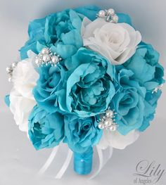 17pcs Wedding Bridal Bouquet Set Silk Flower by LilyOfAngeles, $199.99