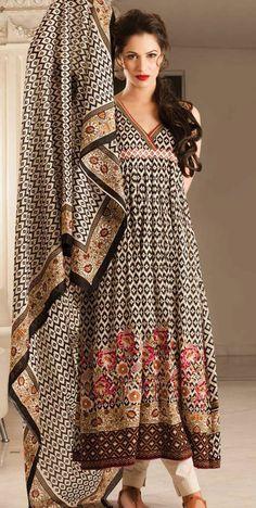 Black/Beige Embroidered Cotton Lawn Salwar Kameez Dress $84.99 DESIGNER LAWN 2014 Pakistani Indian Dresses Online, Men Women Clothing and Shoes | PakRobe.com