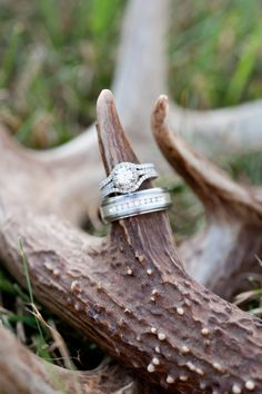 ring shot idea (antlers) - Rustic Glam Wedding from Britt Croft Photography - via heartloveweddings