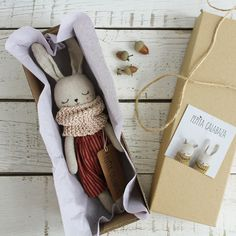 Product of the month handmade bunny dolls by pepita calabaza lunamag comBeautifully handmade toys for babies and children Bunny doll with red pants and grey scarf.Messy studio with mini dolls everywhere!PDF sewing pattern for Blank Cat Doll for crafting 3 Doll Patterns, Sewing Patterns, Bear Patterns, Sewing Stuffed Animals, Fabric Toys, Sewing Projects For Beginners, Sewing Tutorials, Sewing Hacks, Sewing Toys