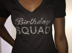 Birthday Squad V Neck T-Shirt // Ladies Birthday by BirthdaySquad