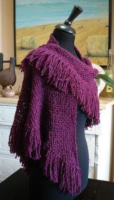 """Chal morado """"TENIS"""" en lana hecho en telar."""