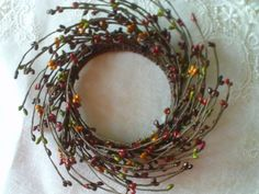 """4"""" Pip Berry Candle Ring - Wreath GREEN, PLUM, MAGENTA, & DEEP TAN Crafts FB #Unbranded #countryprimitive"""