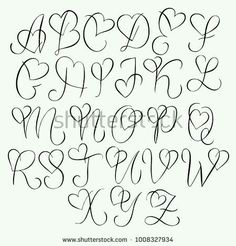 Hand drawn alphabet - calligraphy letters with heart curls - type . - Hand drawn alphabet – calligraphy letters with heart curls – typography and hand lettering - Tattoo Lettering Fonts, Hand Lettering Alphabet, Graffiti Lettering, Tattoo Fonts Alphabet, Cool Fonts Alphabet, Calligraphy Letters Alphabet, Doodle Alphabet, Doodle Lettering, Hand Drawn Lettering