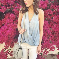 Yes to this chambray top, white jeans and saddle bag.