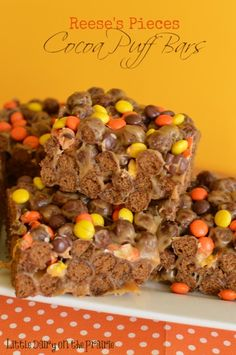 Reese's Pieces Cocoa Puff Bars  Little Dairy on the Prairie  Peanut Butter Krispy Treats