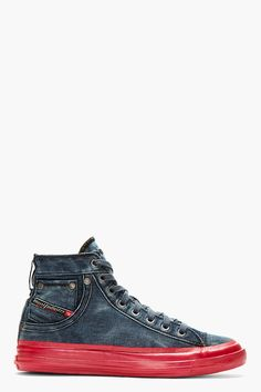DIESEL Blue Denim Contrast Sole Exposure High-Top Sneakers