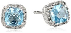 10k White Gold Blue Topaz and Diamond Cushion Earrings | Earrings-------- Beautiful,Elegant and Pretty Earrings suitable for Wedding,Casual and Work Wear in Summer/Spring 2016-------- Great Earrings for Bridesmaid--------
